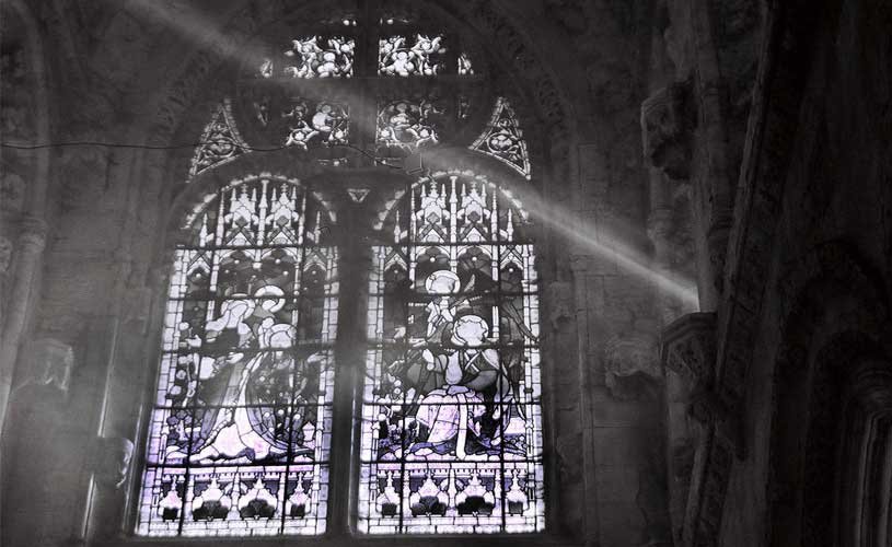 stained glass and light at roslin chapel